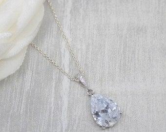 Necklace 925 Silver crystal drop Bridal Jewelry Wedding