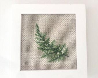 Green Leaf Cross Stitch Kit, modern cross stitch kit