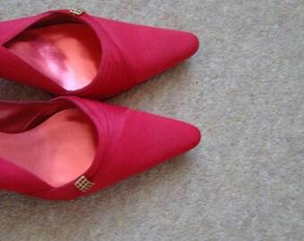 Faith Slingback Kitten Heel Red Shoes size 38 (5 uk )