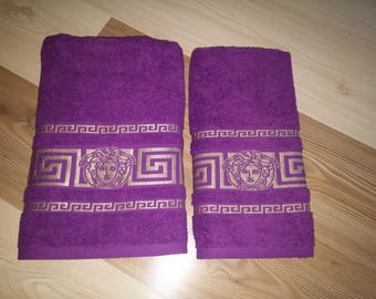 New embroidered inspired by versace towel purple color