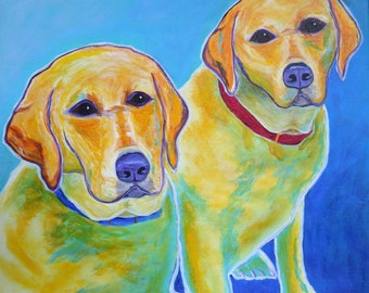 Labrador Retrievers, Pet Portrait, Dog Art, Pet Portrait Artist, Colorful Pet Portrait, Lab Art, Pet Portrait Painting, Art by Jodi Dodd
