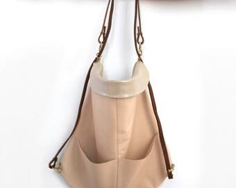Backpack bag bag, fine leather, perlmutt - and pink