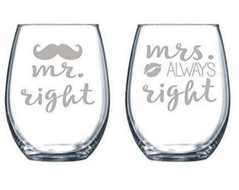 Mr and Mrs with Lips and Mustache Laser Etched Stemless Wine Glass - Perfect Wedding Glasses - ONE PAIR - 15oz