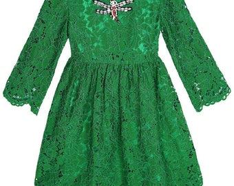 Designer inspired kelly green lace girl's dress - Hand embellished