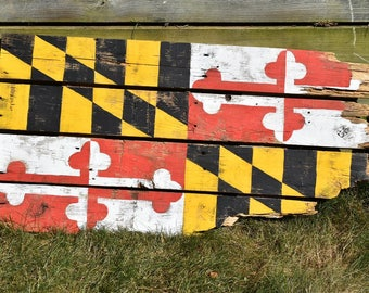 KEVIN Rustic Maryland Flag Pallet Wood Wall Hanging