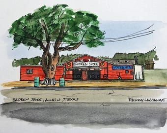 Broken Spoke, Austin, Texas - Watercolor