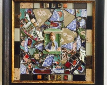 Hello There - Mosaics by Kim - Mixed Media Glass Plate Art Collage - Boy Figurine - Letter Art