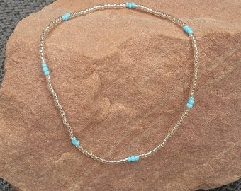 Light Blue Metallic Stretch Anklet