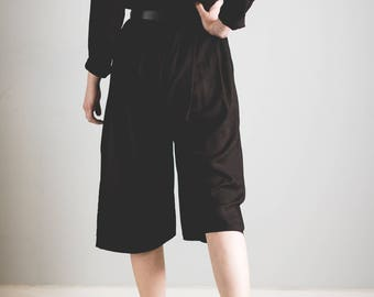 Reworked culotte jumpsuit // overdyed // black with dark brown //made from 1980's dress abstract floral print // Upcycled // Romper // plays