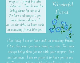 Friend Birthday Card with removable laminate (female)