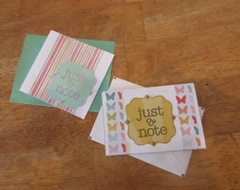 "Set of 2 ""Just a Note"" Cards- Green & Yellow"