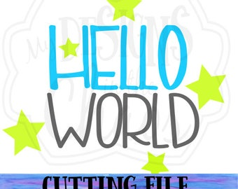 SVG File / Cutting File / Hello World SVG / Hello World Cut File for silhouette and Cricut / hello world png file / baby svg / dxf file