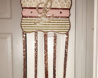 Large initial sparkly bow holder