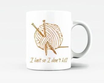 Knitting Mug - 10oz - Ceramic Mug - Gift for Knitter - Friend Mug - Gift for Sister, Friend, Colleague - Birthday Gift - Tea Cup - Cofee Mug