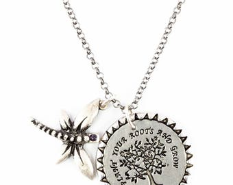 Roots and Grow  - Sterling Silver Pendant