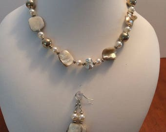 Necklace 16 inches with nacre pearls