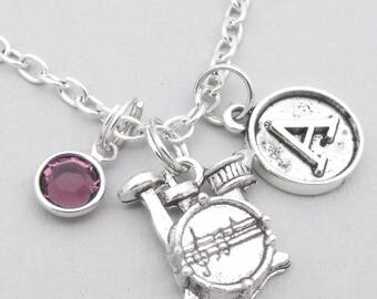 Drum kit vintage initial necklace | drum set necklace | drums pendant | personalised drums necklace | drums jewelry | letter | birthstone