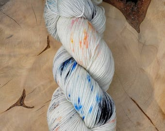 Blue speckled, hand painted sock yarn, merino superwash