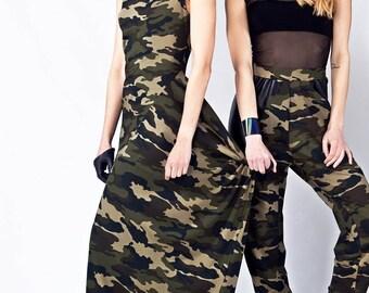 Camouflage dress, Military Dress, Asymmetrical Dress, Long Skirt, Oversize Dress, Military Maxi Dress, Black Dress, Long Dress, Women's Wear