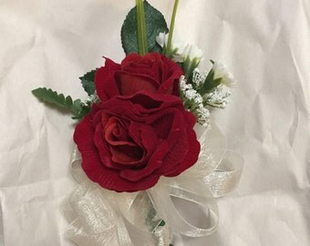 Double red rose pin corsage