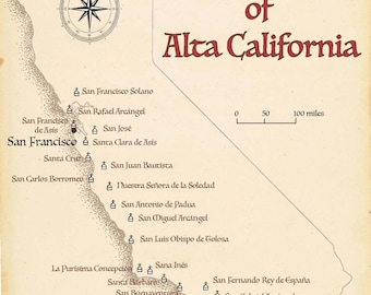 California Mission Etsy - California missions map