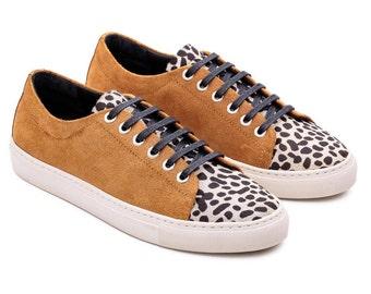 90s Platform Sneaker, Cow Leather Sneakers, Cow Sneakers, Hipster Sneakers, Fur Sneakers, Designer Sneakers, Cap Toe Sneaker, Handmade Shoes