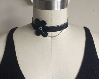 Zipper Choker w/ Flower & Chain