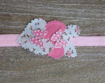 pink 3 hearts and roses  butterfly baby  headband,photoprops, shabby chic