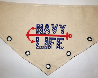 Navy Life Unique grommet accent Canvas dog pet BANDANA Sailor military nautical red blue Patriotic anchor tie-front or over the collar!