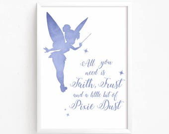 Sale 50% Off - Tinkerbell Watercolor Printable ( peter pan home decor disney quote nursery print faith pixie dust baby gift instant download