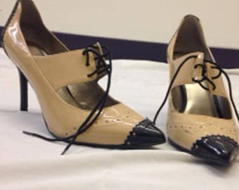 "Tan and black patent leather shoes, 2"" heel, women's size 8 1/2 medium, Levity"