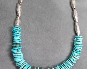 Sterling Silver and Natural Turquoise Necklace