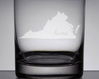 Virginia Whiskey Glass, Etched Rocks Glass, Sandblasted Bourbon Glass, Home State, Lowball, Etched Glass, Sandblasted Glass, Custom Gift