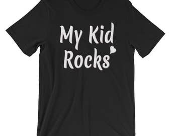 My Kid Rocks Unisex Mom Dad Sports  T-shirt