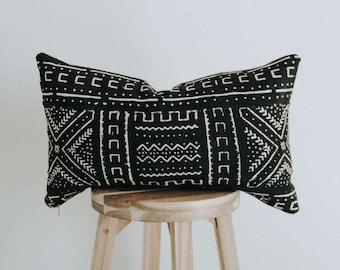 """African Mudcloth Throw PIllow Cover 14x22 Lumbar """"Xola"""""""