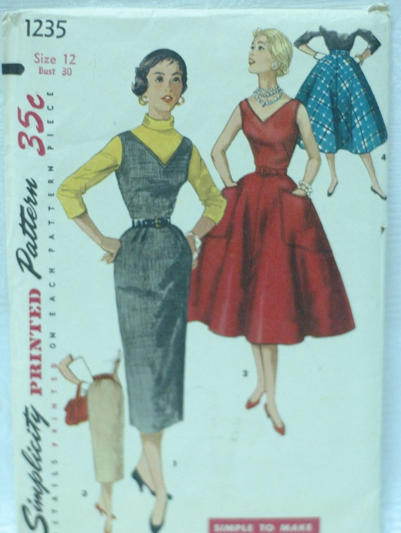 1950s Simplicity 1235 Vintage Sewing Pattern Junior Misses Dress, Jumper, Skirt Size 12 Bust 30