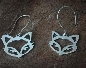 Sterling Silver Fox Drop Earrings