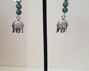 SALE!Yoga earrings ohm earrings buddha earrings gemstone earrings beaded earrings
