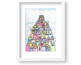 Pyramid of Cats Original Watercolor 8x10 Painting