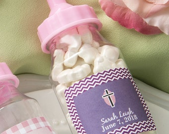 Personalized expressions Clear baby bottle with pink or blue screw on top