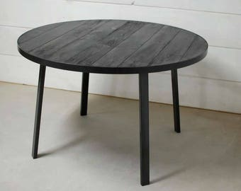 Industrial Round Wood Dining Table, Industrial Round Dining Table, Round Wood Table, Rustic Dining Table, Wood Furniture - FREE Shipping