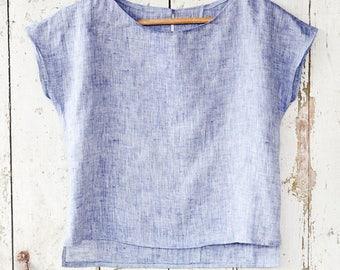 basic linen top, pastel blue top, loose fit linen blouse, summer top, minimal top made of soft linen, short sleeve blouse, elegant top