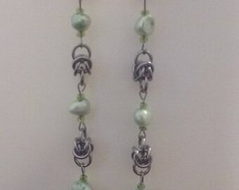 Byzantine with Green Pearl Bead Earrings, Unique Handmade Stainless Steel Chainmaille.
