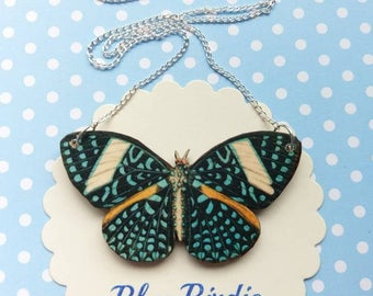 Butterfly necklace butterfly jewelry large blue butterfly bib necklace butterfly jewellery butterfly gift blue butterfly necklace