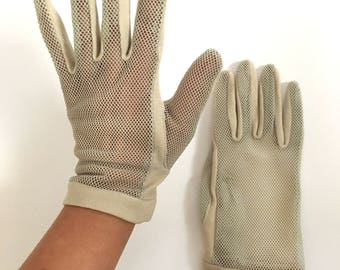 Vintage gloves, vintage gloves, mesh, 60 years