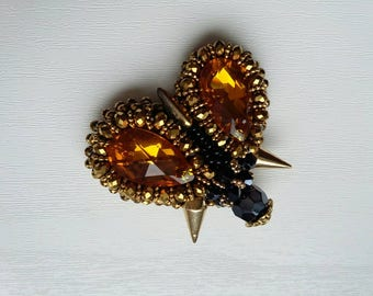 Gold beetle brooch handmade fromcristal beads