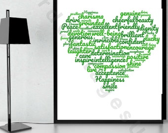 Green  Positivity themed word collage in heart shape A4