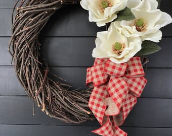 Farmhouse Wreath/ Magnolia Wreath/ Shabby Chic Wreath/ Front Door Wreath/ Summer Wreath/ Rattan Wreath