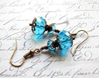 Blue Crystal Earrings - Victorian Style Earrings - Vintage Style Earrings