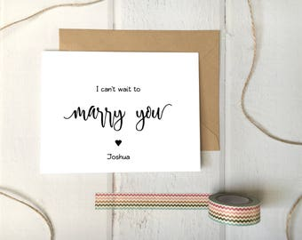 I Can't Wait to Marry You Printable Foldable Cards / Reasons I Want To... Wedding Day Bride Groom Couple Gift DIY Template / With Heart